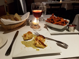 Crab cakes & sweet potato fries at Jack's NYC
