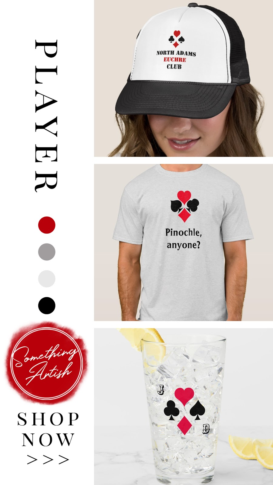 Personalized and monogrammed trucker hat, tee-shirt, and drinking glass. Custom gifts and apparel with playing card suit symbols; hear, spade, club, and diamond. In a red black and gray color palette.