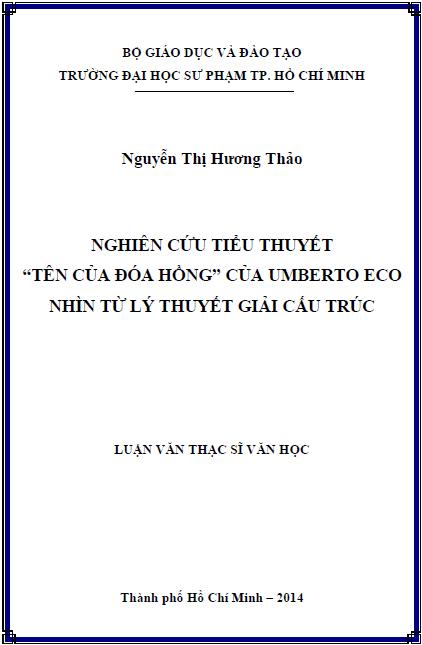 Nghiên cứu tiểu thuyết Tên của đóa hồng của Umberto Eco nhìn từ lý thuyết giải cấu trúc