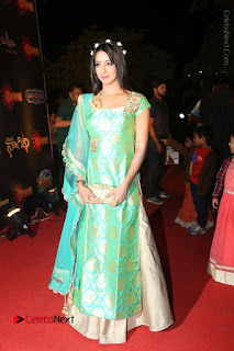 Actress Sanjjanaa Stills in Green Long Dress at Gemini TV Puraskaralu 2016 Event  0044.JPG