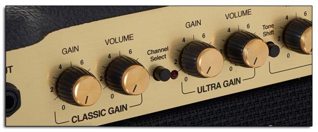 Controles de Volumen y Gain del Amplificador de Guitarra