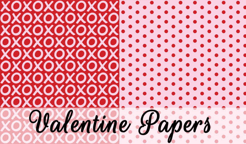 Free Digital Valentine Papers in pink, red, white and tangerine.