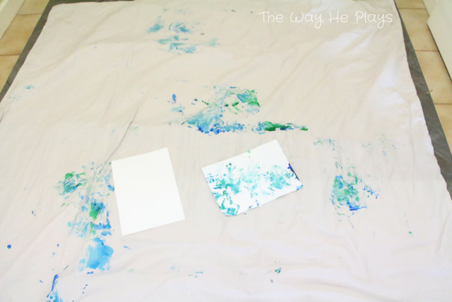 Drop sheet for painting with baby
