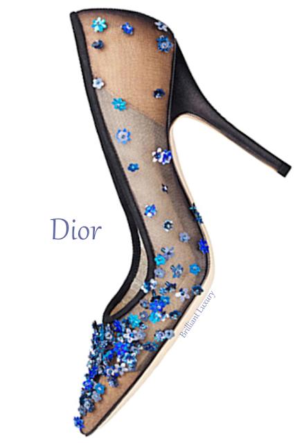 Blue flower embroidered Dior pump #brilliantluxury