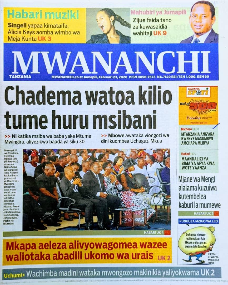 Habari Zilizopo Katika Magazeti ya Leo Jumapili February 23