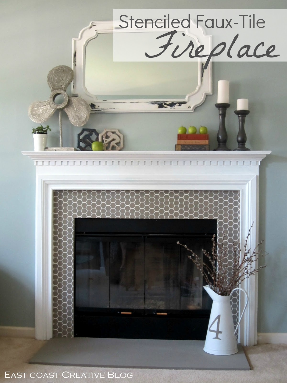 Stenciled Faux-Tile Fireplace {Tutorial}