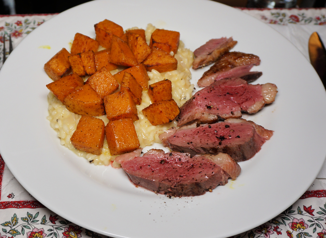 Risotto with butternut squash and duck breast