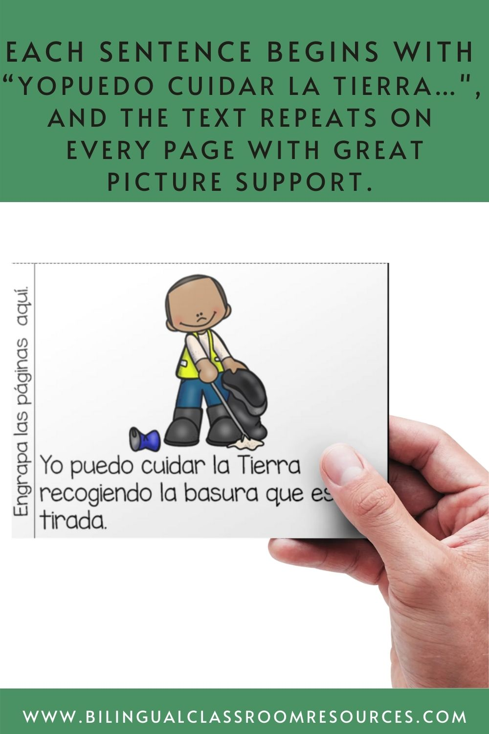 Yo puedo cuidar la Tierra/ I can take care of the Earth reader in Spanish: introduces your students to different ways they can care for the Earth