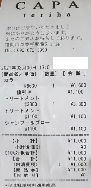 CAPA TERIHA 2021/2/6 利用のレシート
