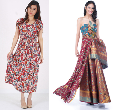 model baju batik long dress