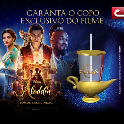 Aladdin estreia na Cinemark do Centro Comercial Aricanduva com copo exclusivo e lâmpada mágica