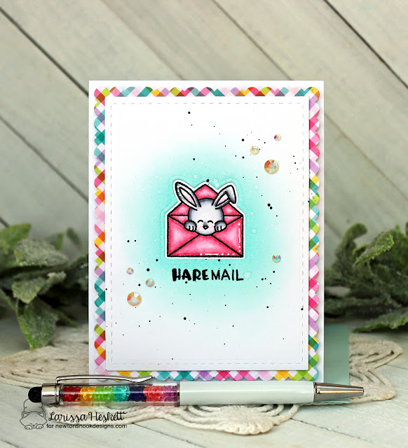 Hare Mail Bunny Card by Larissa Heskett | Hare Mail Stamp Set and Frames & Flags Die Set by Newton's Nook Designs