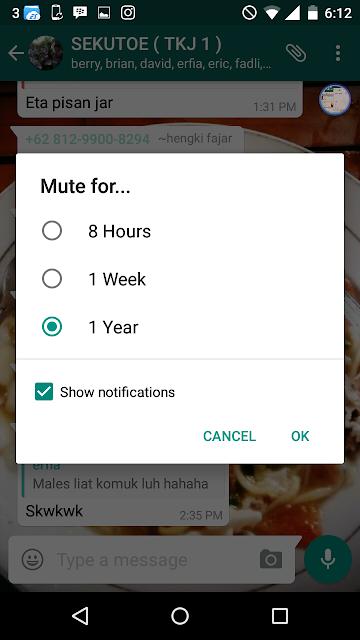 Pilih berapa lama kamu ingin mute grup tersebut