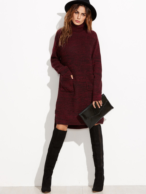 http://www.shein.com/Burgundy-Marled-Knit-Turtleneck-High-Low-Sweater-Dress-p-315744-cat-1727.html?utm_source=treschicbypaulina&utm_medium=blogger&url_from=treschicbypaulina_gl