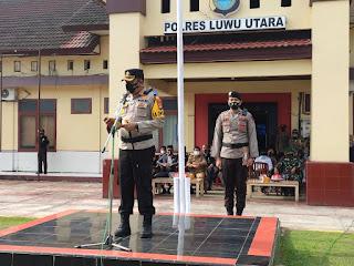 Jelang Ramadhan Polres Luwu Utara Gelar Apel Gelar Pasukan Ops Keselamatan 2021