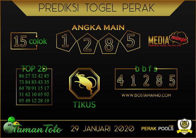 Prediksi Togel PERAK TAMAN TOTO 29 JANUARI 2020