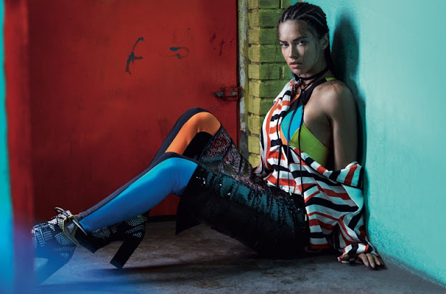 Adriana Lima poses in sporty looks for the fashion editorial