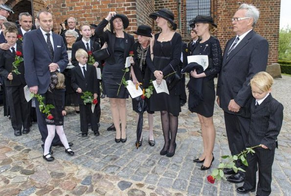 Queen Margrethe, Prince Henrik, Princess Marie and Princess Benedikte attended the funeral of the Count Christian of Rosenborg
