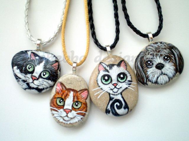 Shebbo Design Hayvanseverlere Tas Boyama Kolyeler Painted Pebble