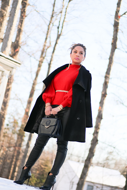 chic red and black winter outfit