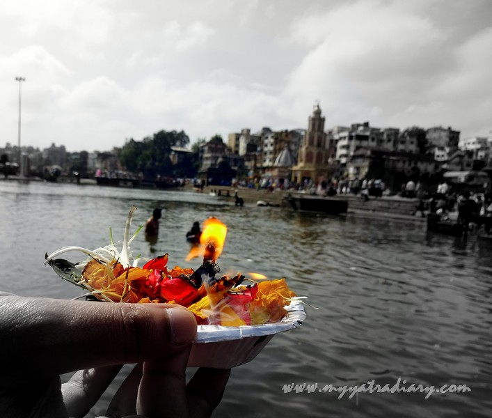 Diya at the Godavari Ghat, Nasik