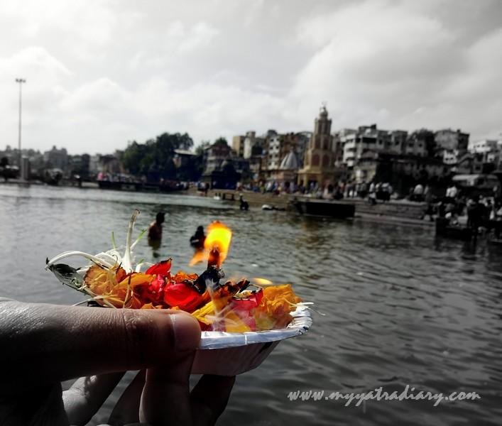 Diya at the Godavari Ghat, Nasik