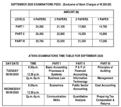 ICAN ATSWA September 2020 Exam Fees And Exam Timetable