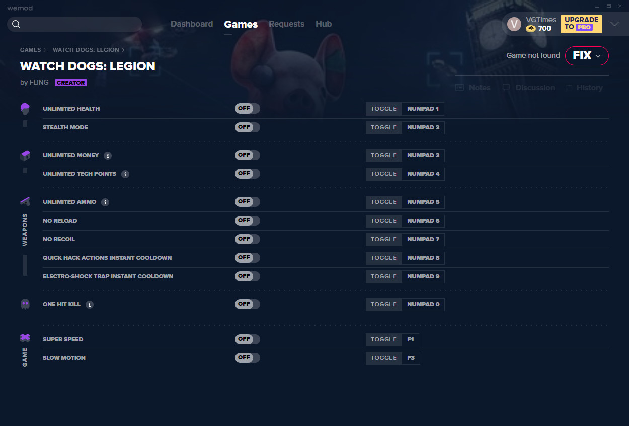 Watch dogs legion: Trainer (+12) from 05.11.2020 [WeMod] [Epic]
