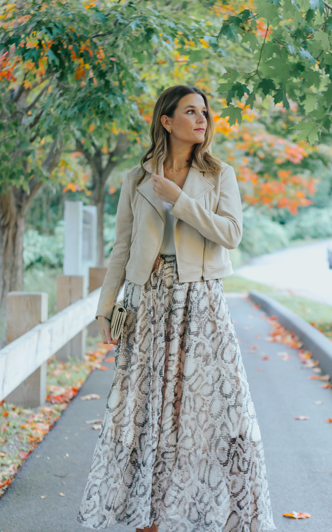 Snake Print Skirt Outfit