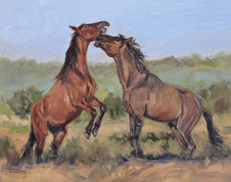 Karen McLain Studio: Sparring Colts-Wild Horse Play