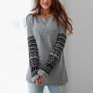 Circular Collar Long Sleeves Printing T - Shirt