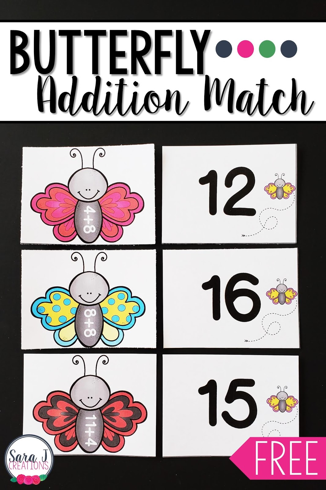 photograph about Math Fact Fluency Games Printable identified as Cost-free Butterfly Addition in just 20 Matching Video game Sara J