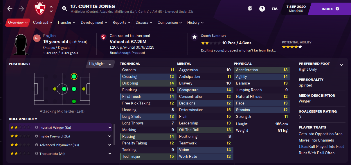 FM21 Liverpool Team Guide - Tactic - Curtis Jones