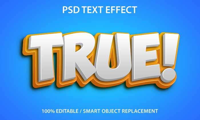 True Premium Text Effect PSD Mockup