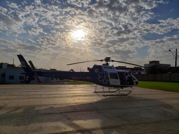 Idosa de 62 anos é transportada pelo helicóptero do Paraná Urgência/Consamu