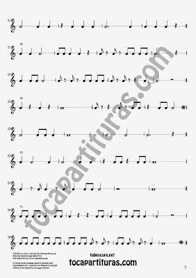 7 Parte 35 Ejercicios Rítmicos para Aprender Solfeo Negras, corcheas, blancas y sus Silencios Compás 4x4 cuatro tiempos Sheet Music for quarter notes, half notes, 1/8 notes and silences