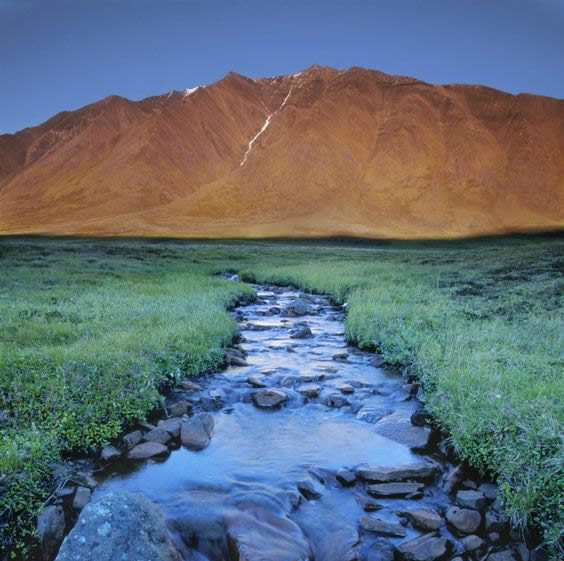 A tiny creek flows through a tundra-covered valley, Gates of the Arctic National Park, Alaska.