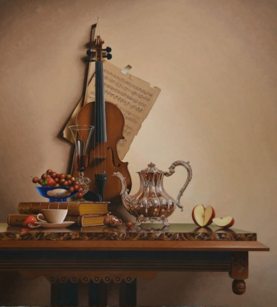 16-Vintner-s-Song-Mark-Thompson-Photo-Realistic-Still-Life-Paintings-www-designstack-co
