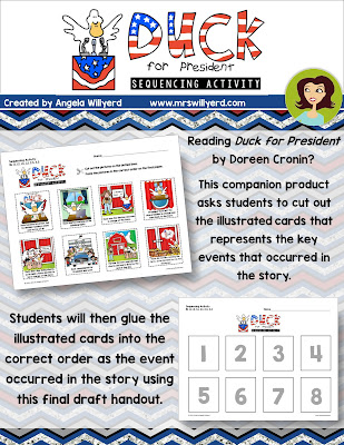 Duck for President Sequencing Activity Companion Resource for Presidents' Day or Election Day