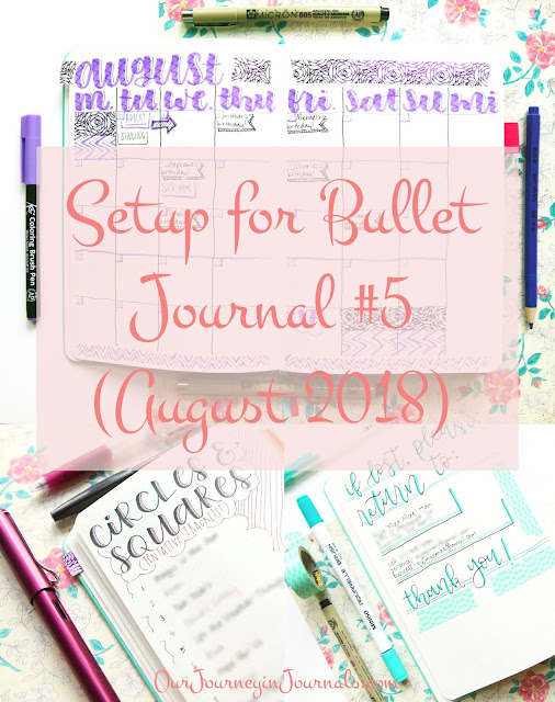 Setup for New Bullet Journal #5 (August 2018)