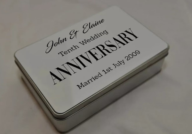 Mill Hill Sublimation personalized 10th wedding anniversary storage tin