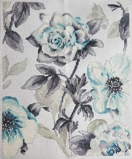 Completed Teal Floral Cross Stitch