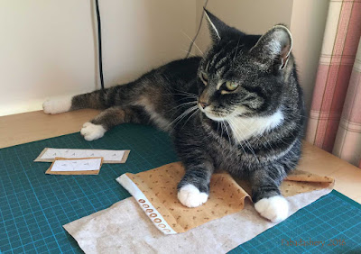 Suzi the Cat helps with Dear Jane cutting out.