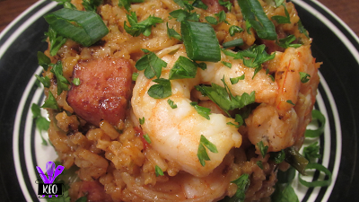 Creole style shrimp and sausage jambalaya inspired by a Food Network recipe