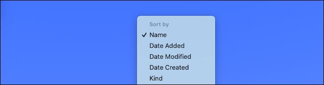تغيير إعداد الفرز للمجلد في Mac dock