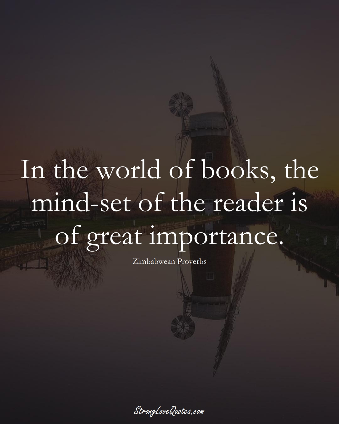 In the world of books, the mind-set of the reader is of great importance. (Zimbabwean Sayings);  #AfricanSayings