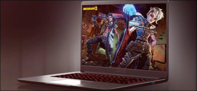 عرض كمبيوتر للكمبيوتر المحمول Ryzen 4000 باللون الأرجواني مع خلفية Borderlands 3.