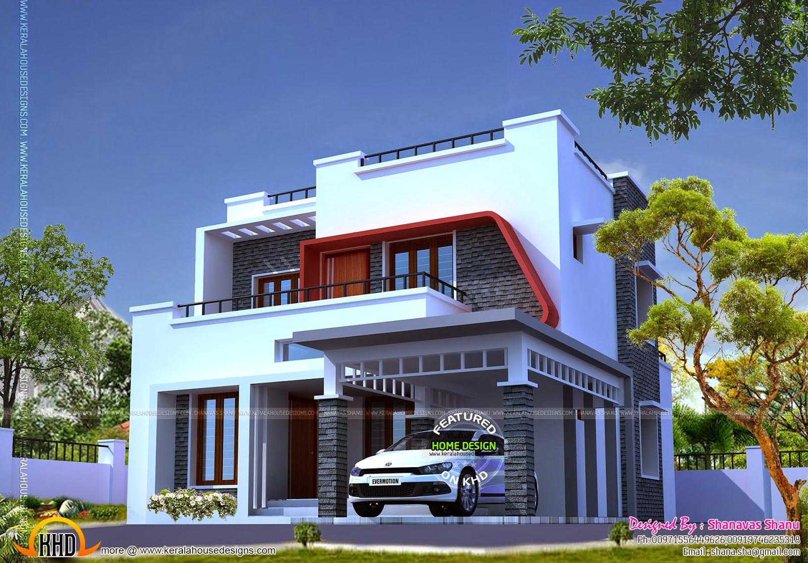 Modern style villa kerala home design and floor plans for Villa type house plans