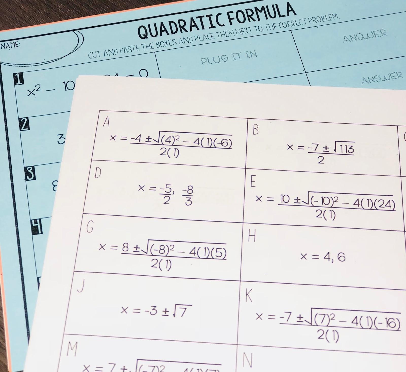 Quadratic Formula Activity   Mrs. Newell's Math