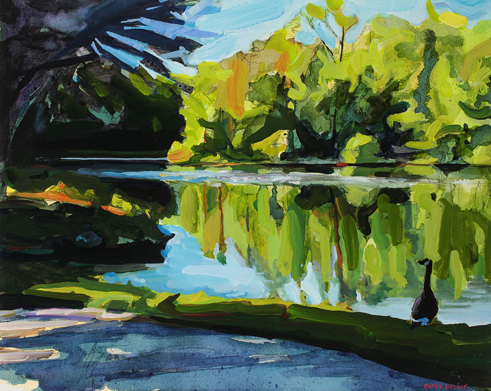 An acrylic painting of Lake Audubon located at Walton Woods in Amherst NY